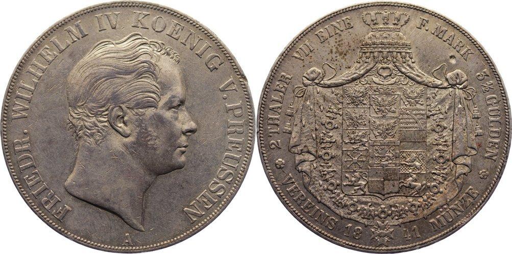 Doppeltaler 1841 A Brandenburg-Preußen Friedrich Wilhelm IV. 1840-1861. kl. Randfehler, Revers kl. Einschlag, sehr schön - vorzüglich