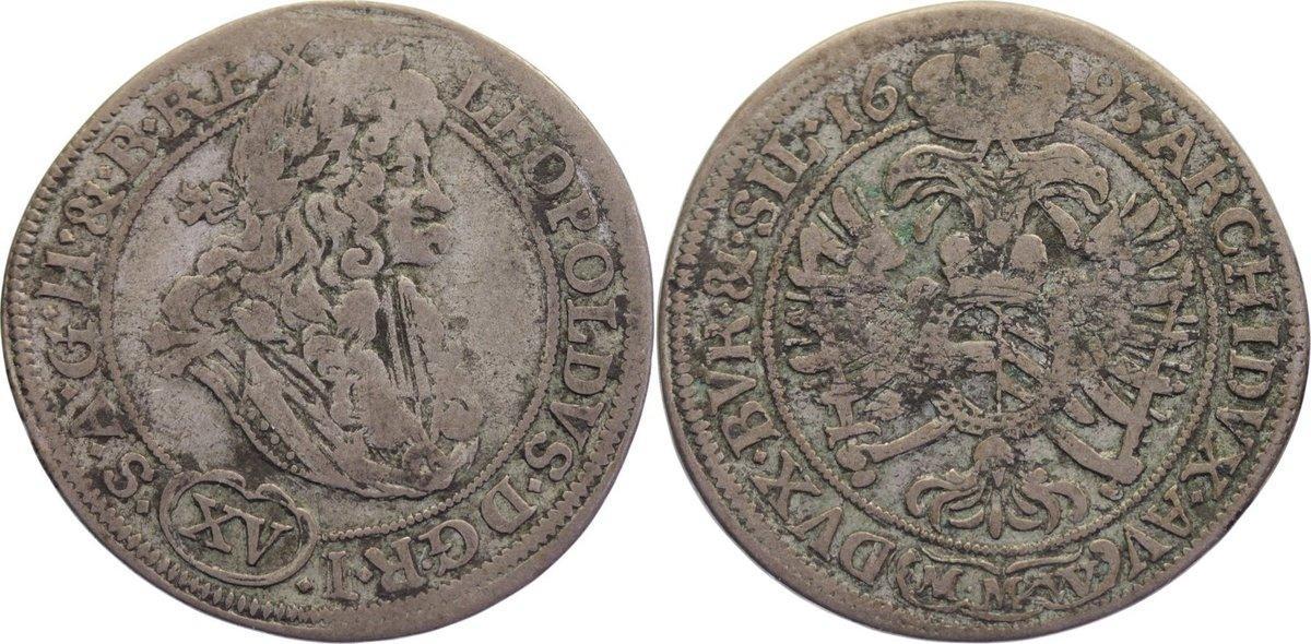 15 Kreuzer 1693 Haus Habsburg Leopold I. 1657-1705. knapp sehr schön