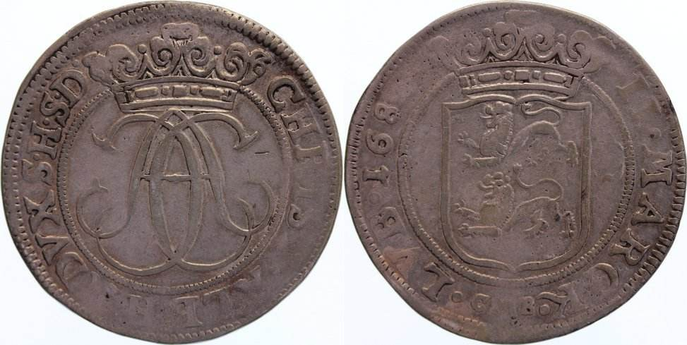 2 Mark 1682 MB Schleswig-Holstein-Gottorp Christian Albrecht 1659-1694. sehr selten, fast sehr schön