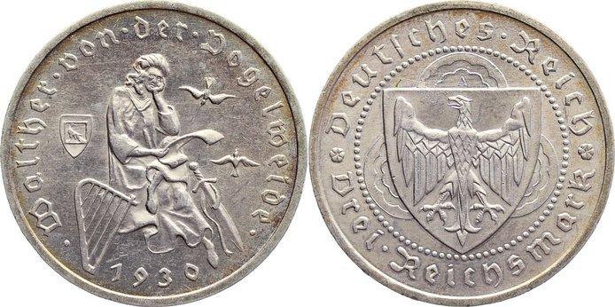 3 Reichsmark 1930 A Weimarer Republik Gedenkmünzen 1918-1933. sehr schön - vorzüglich