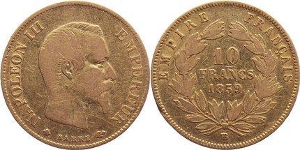 10 Francs 1859 BB Frankreich Napoleon III. 1852-1870. GOLD, fast sehr schön