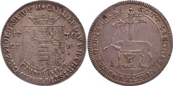 Ausbeute 1/6 Taler 1770 Stolberg-Stolberg Carl Ludwig und Christian Friedrich 1768-1810. selten, vorzüglich