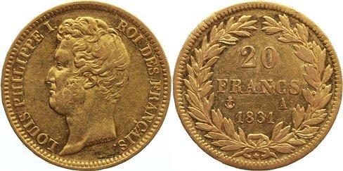 20 Francs 1831 A Frankreich Louis Philippe I. 1830-1848. Gold, sehr schön +
