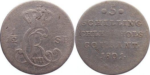1/12 Speciestaler / 5 Schilling 1801 MF Schleswig-Holstein, Königliche Linie Christian VII. 1766-1808. selten, schön +