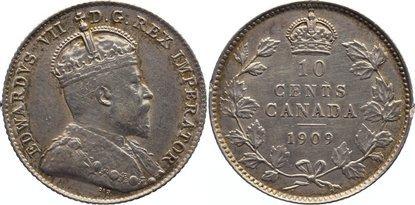 10 Cents 1909 Kanada kl. Randfehler, sehr schön +