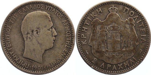 2 Drachmen 1901 Kreta George 1898-1906. schön +