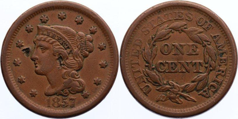 Cu Cent 1857 USA selten, kl. Einschläge, sehr schön