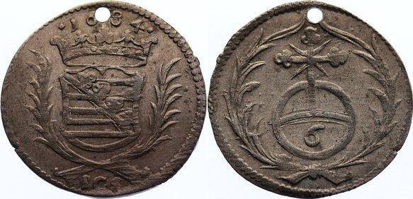 6 Pfennig 1684 Sachsen-Neu-Weimar Wilhelm Ernst 1683-1728. selten, gelocht, sehr schön +