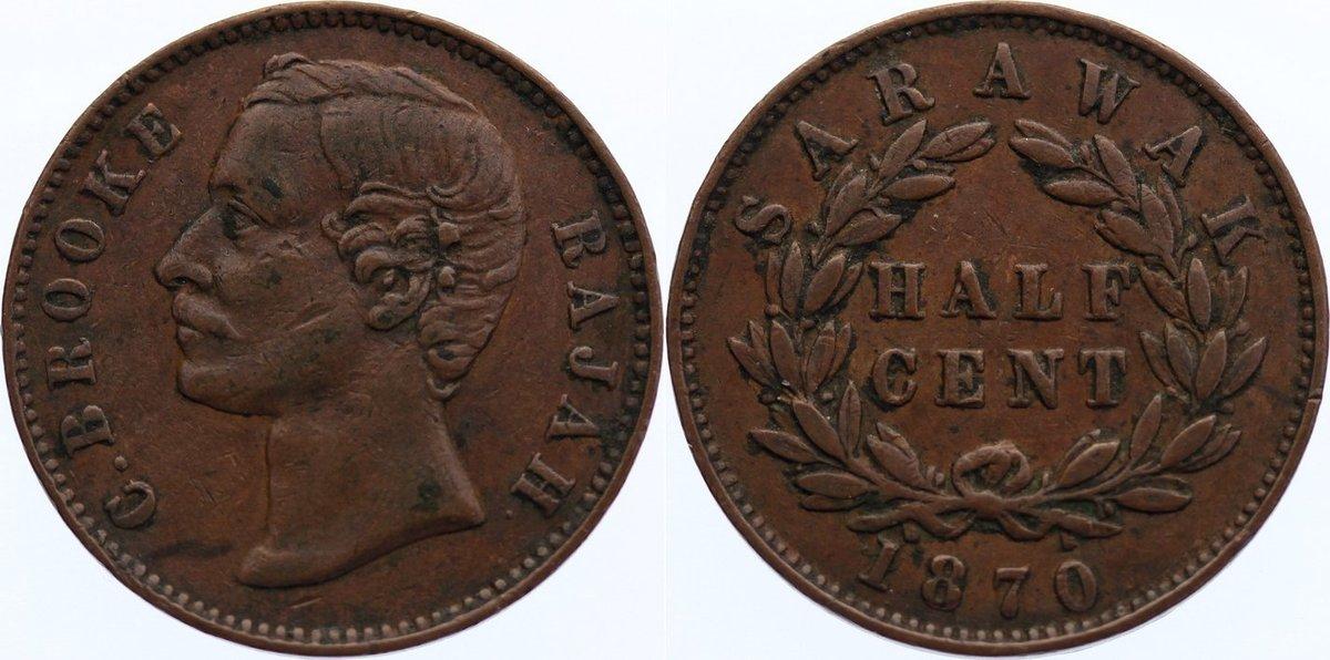 Cu 1/2 Cent 1870 Sarawak Charles J. Brooke, Rajah 1868-1917. sehr schön