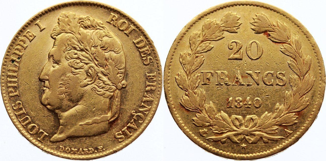 20 Francs 1840 A Frankreich Louis Philippe I. 1830-1848. Gold, sehr schön +