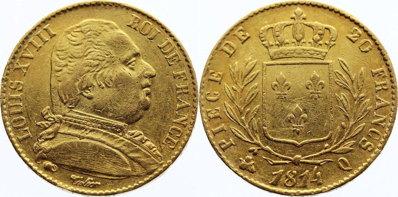 20 Francs 1814 Q Frankreich Ludwig XVIII. 1814, 1815-1824. Gold, sehr schön