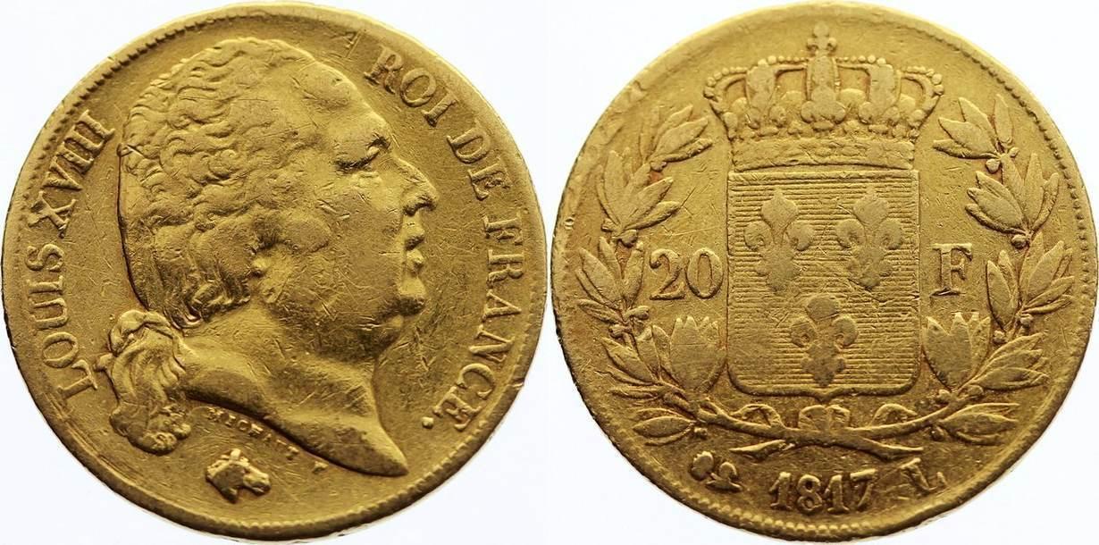 20 Francs 1817 L Frankreich Ludwig XVIII. 1814, 1815-1824. Gold, fast sehr schön