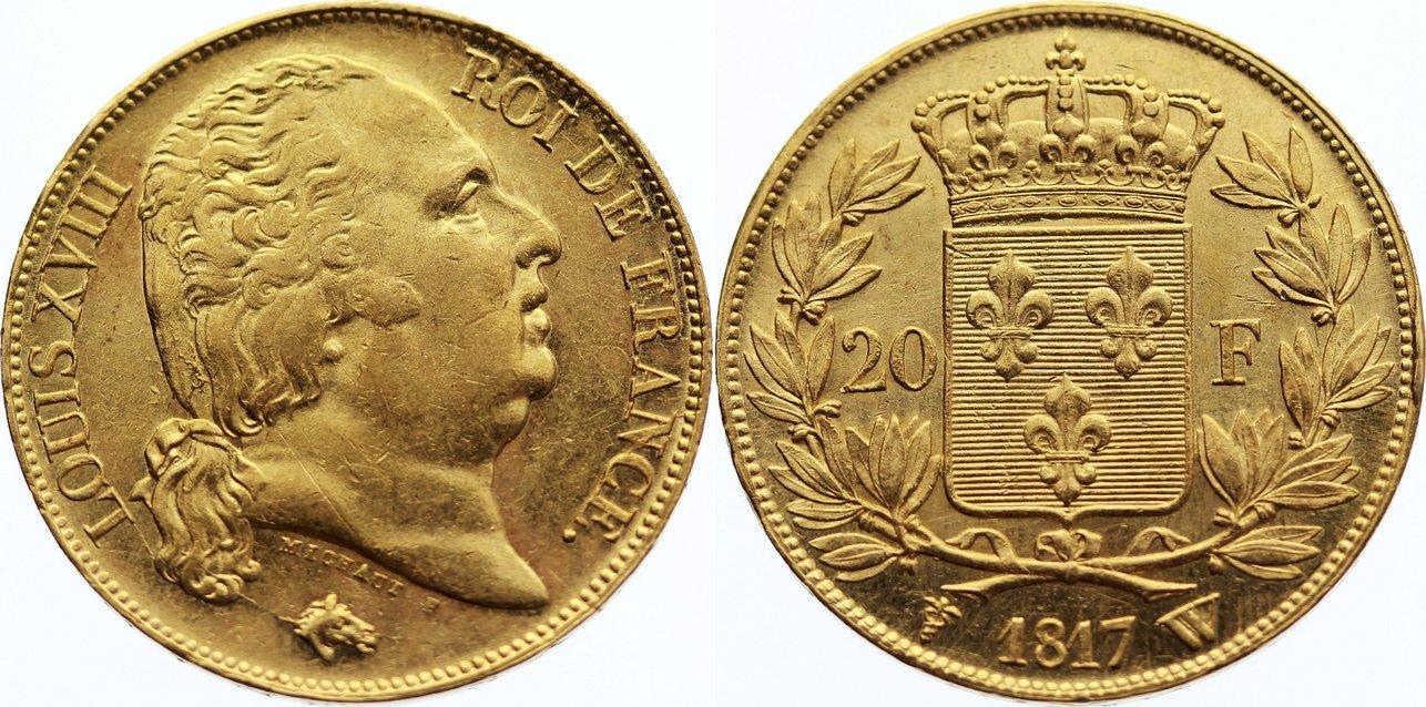 20 Francs 1817 W Frankreich Ludwig XVIII. 1814, 1815-1824. Gold, fast vorzüglich / vorzüglich