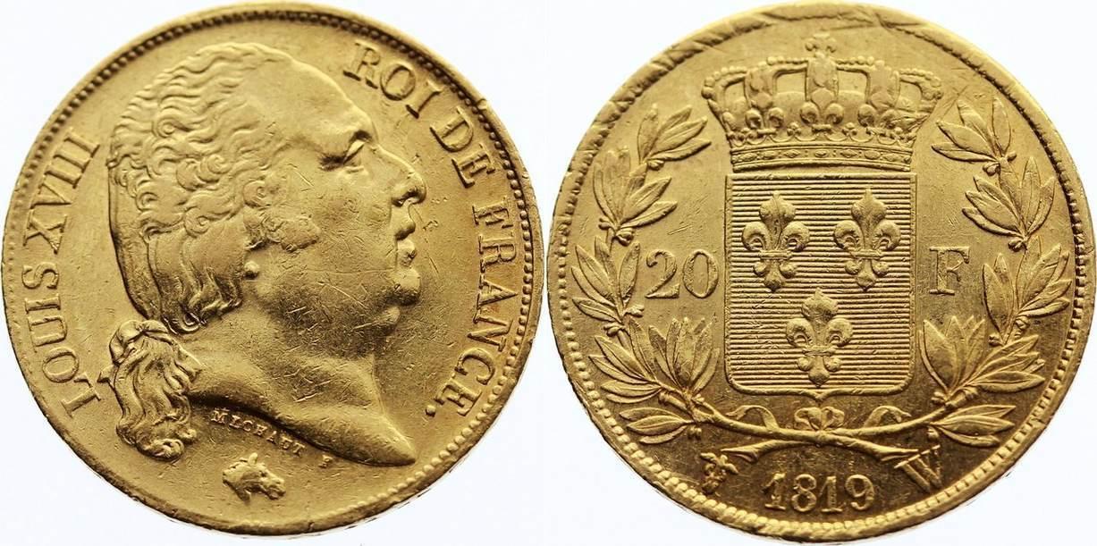 20 Francs 1819 W Frankreich Ludwig XVIII. 1814, 1815-1824. Gold, kl. Kratzer, sehr schön - vorzüglich