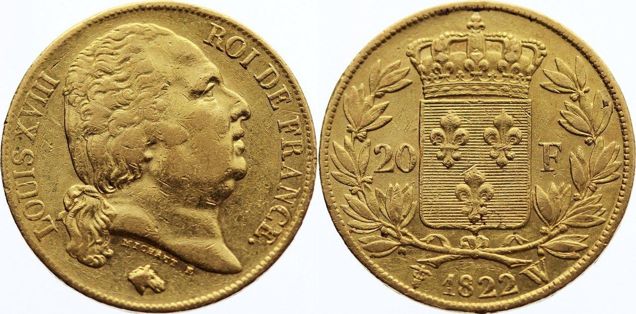 20 Francs 1822 W Frankreich Ludwig XVIII. 1814, 1815-1824. Gold, kl. Kratzer, sehr schön