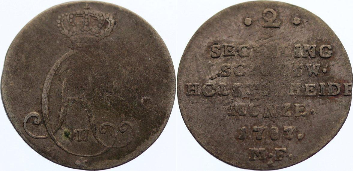 2 Sechsling 1787 MF Schleswig-Holstein, Königliche Linie Christian VII. 1766-1808. schön - sehr schön