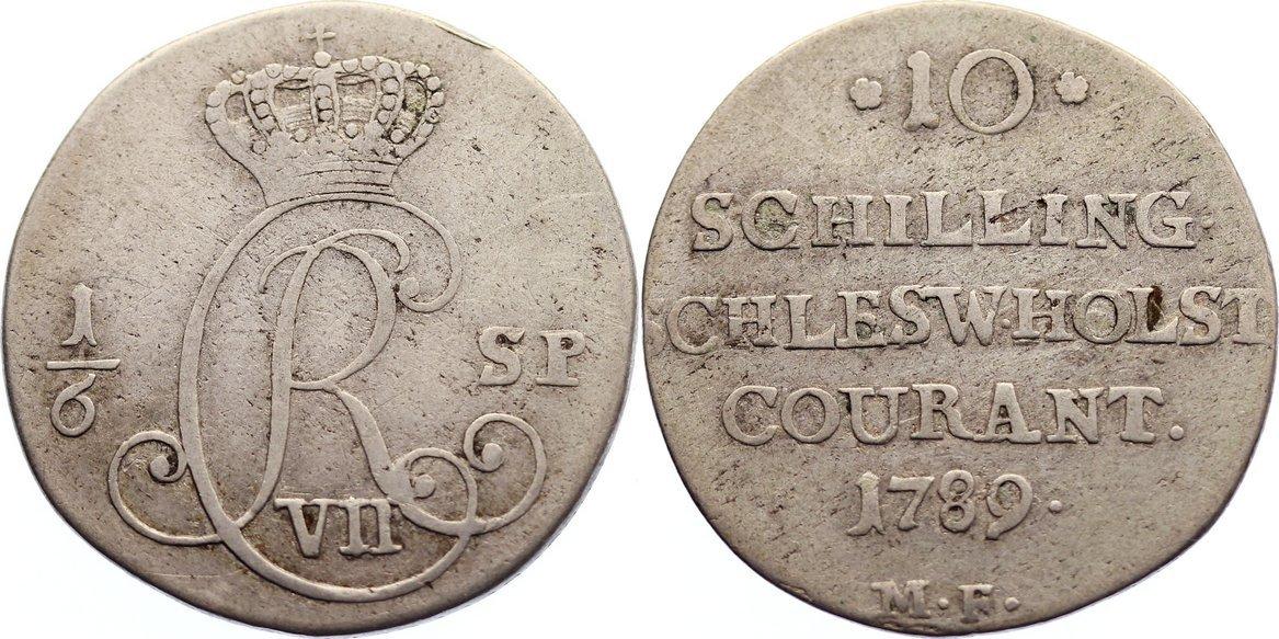 1/6 Speciestaler 1789 MF Schleswig-Holstein, Königliche Linie Christian VII. 1766-1808. fast sehr schön