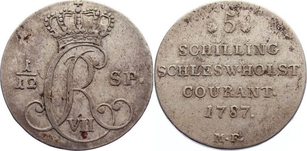 1/12 Speciestaler / 5 Schilling 1787 MF Schleswig-Holstein, Königliche Linie Christian VII. 1766-1808. sehr schön