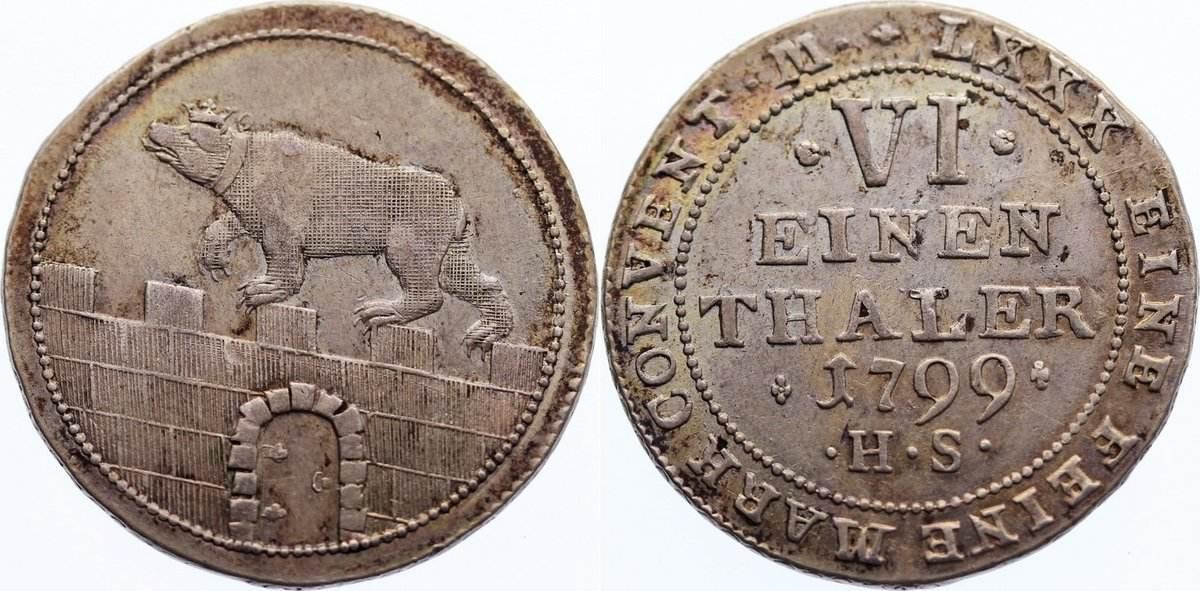 1/6 Taler 1799 HS Anhalt-Bernburg Alexius Friedrich Christian 1796-1834. fast vorzüglich / vorzüglich