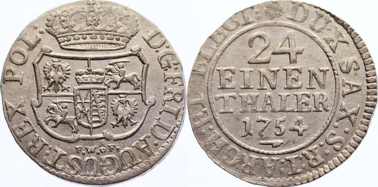 1/24 Taler 1754 FW Sachsen-Albertinische Linie Friedrich August II. 1733-1763. prägefrisch