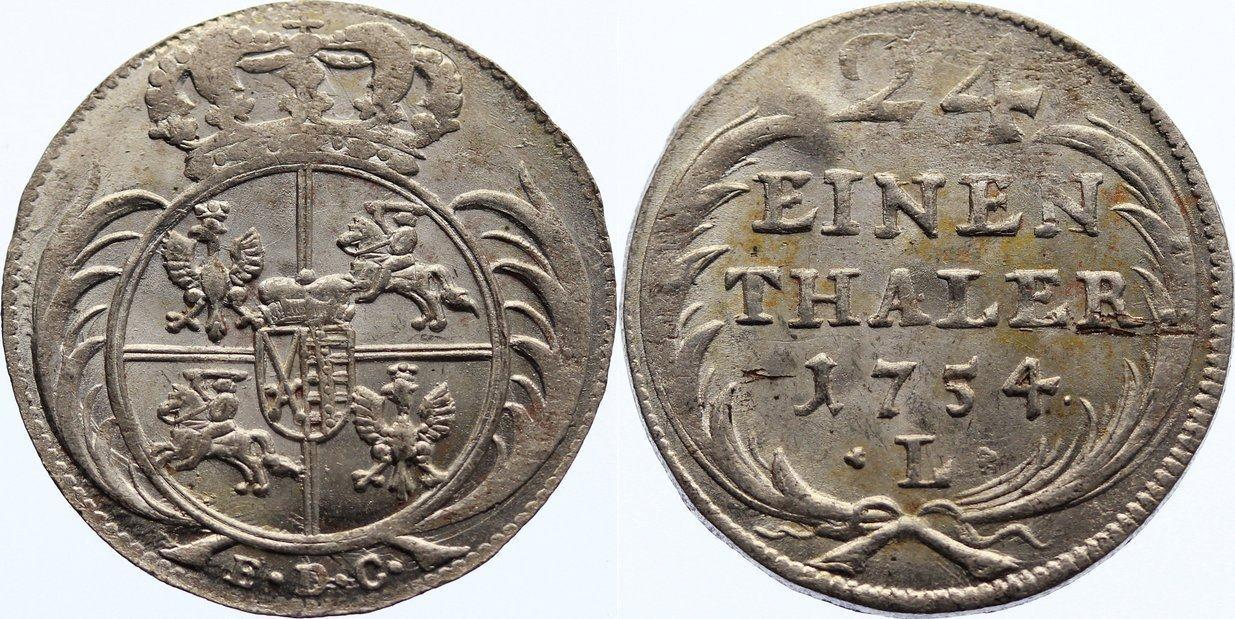 1/24 Taler 1754 Sachsen-Albertinische Linie Friedrich August II. 1733-1763. kl. Prägeschwäche, min. Schrötlingsfehler, vorzüglich - Stempelglanz