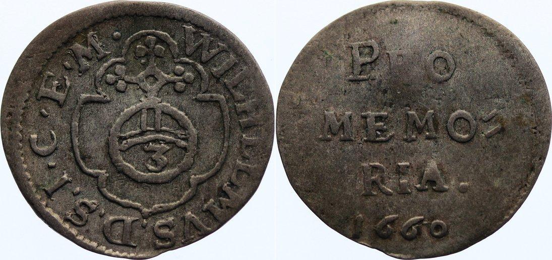 Dreier 1660 Sachsen-Neu-Weimar Wilhelm IV. 1640-1662. selten, leicht gewellt, sehr schön