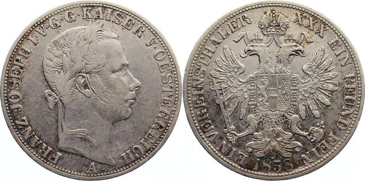 Vereinstaler 1858 A Haus Habsburg Franz Joseph I. 1848-1916. Kratzer, sehr schön