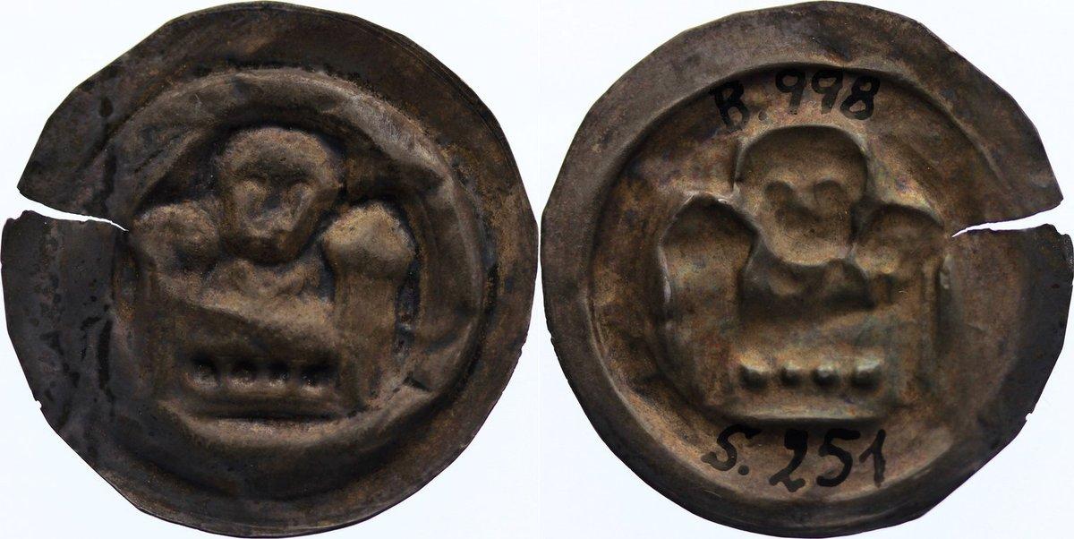 Brakteat 1156-1190 Sachsen-Meißen, markgräflich wettinische Mzst. Otto der Reiche 1156-1190. selten, Einriß, fast sehr schön