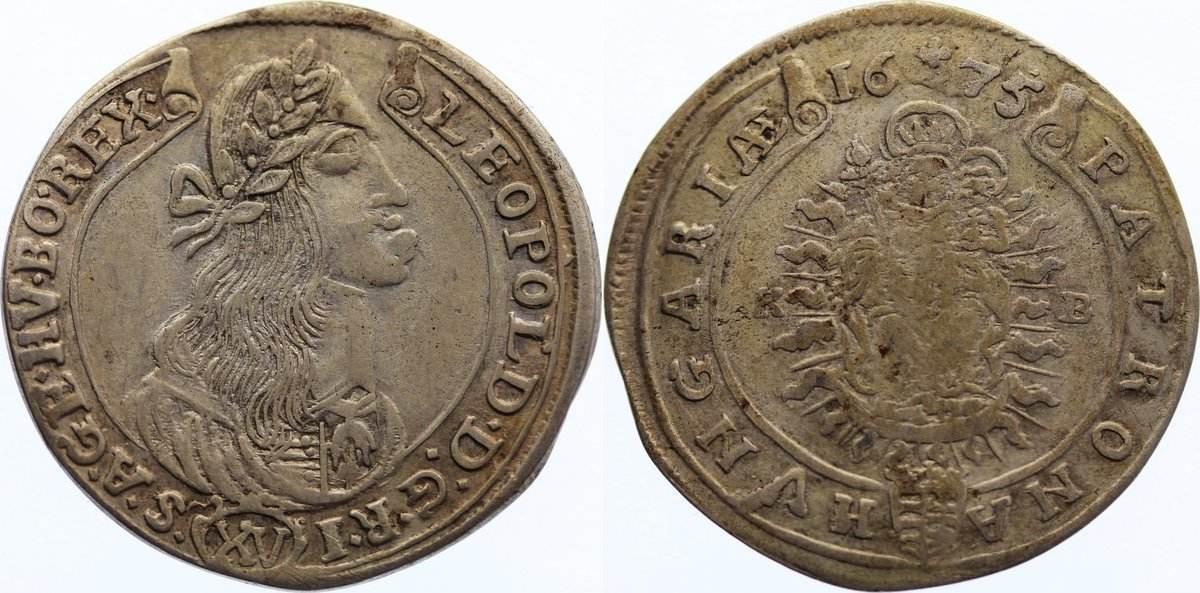 15 Kreuzer 1675 KB Haus Habsburg Leopold I. 1657-1705. sehr schön / fast sehr schön