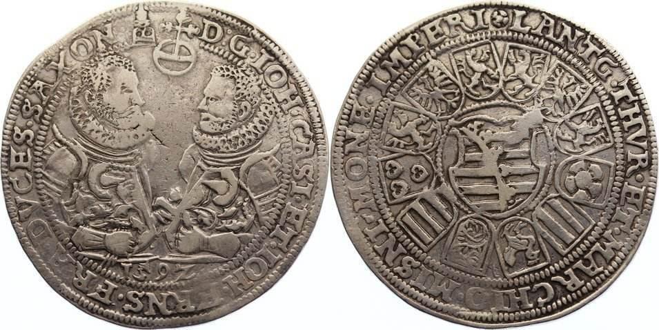 Taler 1592 Sachsen-Coburg-Eisenach Johann Casimir und Johann Ernst 1572-1633. fast sehr schön