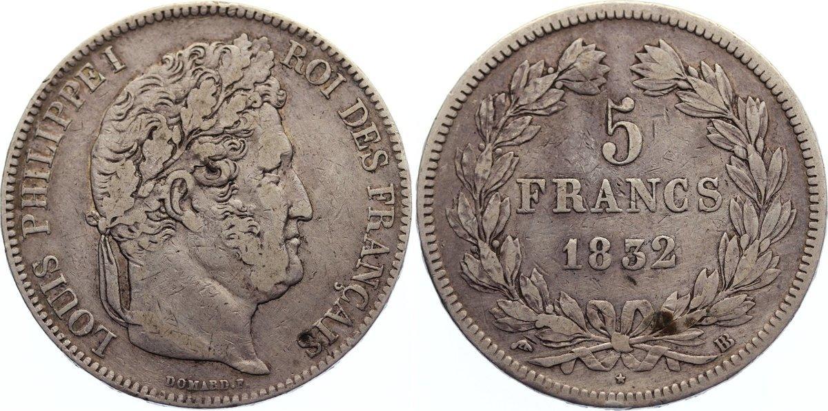 5 Francs 1832 BB Frankreich Louis Philippe I. 1830-1848. sehr schön