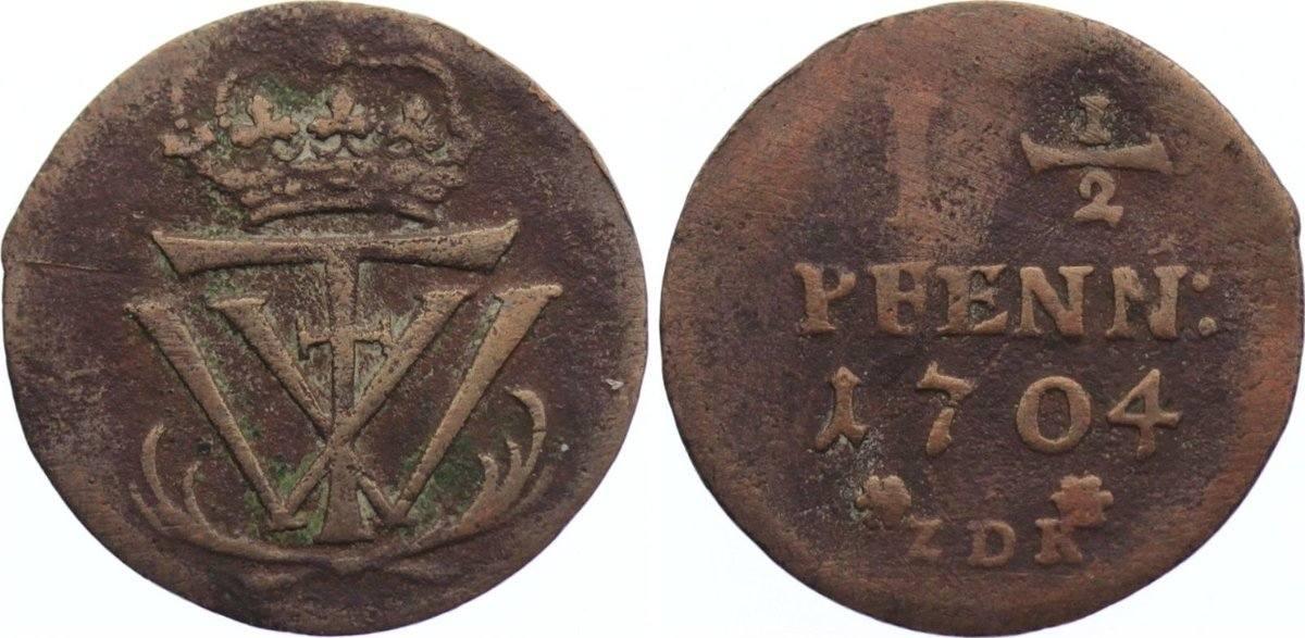 1 1/2 Pfennig 1704 Mecklenburg-Schwerin Friedrich Wilhelm 1692-1713. fast sehr schön