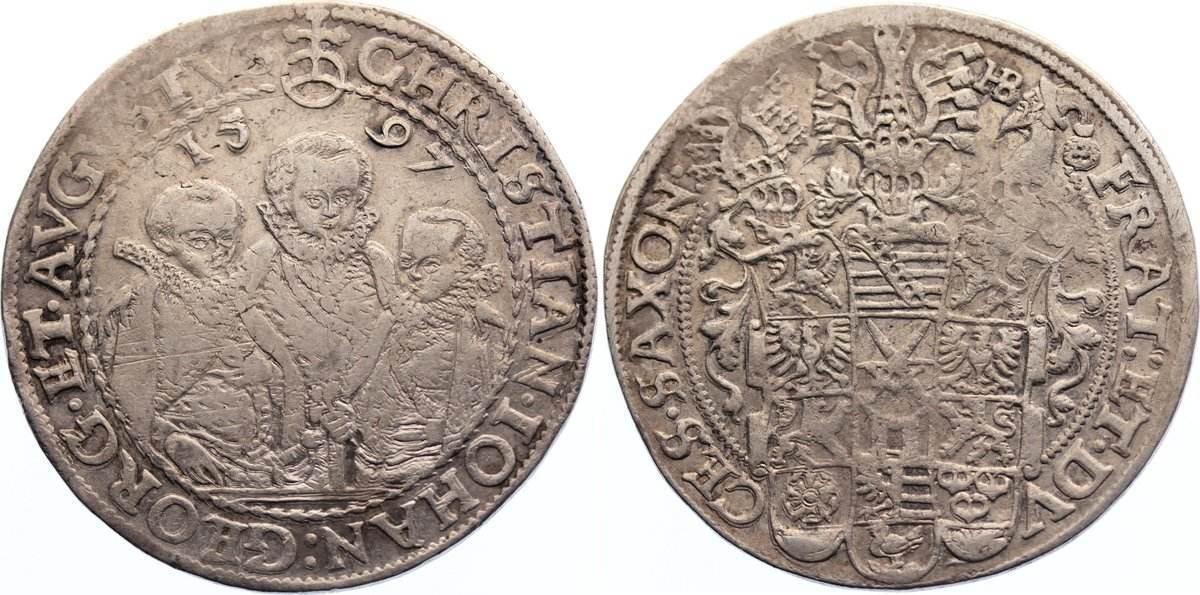 Taler 1597 HB Sachsen-Albertinische Linie Christian II. und seine Brüder unter Vormundschaft 1591-1601. kl. Prägeschwäche, sehr schön
