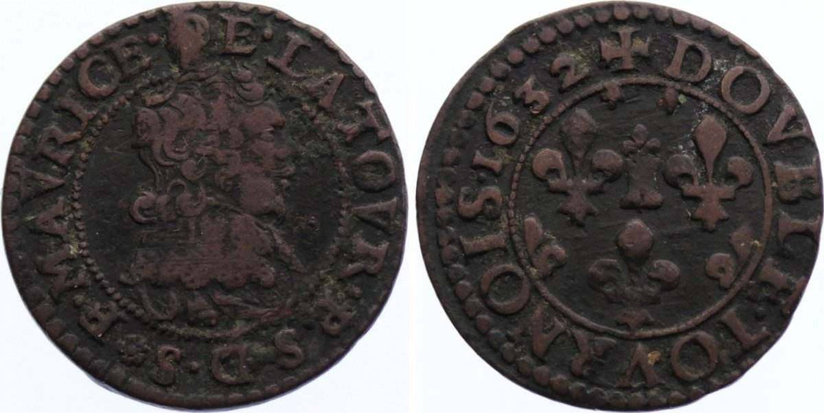 Double Tournois 1632 Frankreich-Sedan & Buillon Frederic - Maurice de la Tour d'Auvergne 1623-1642. etwas Belag, sehr schön