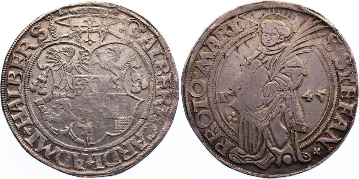 Taler 1545 Halberstadt, Bistum Albrecht von Brandenburg 1513-1545. sehr selten, Prägeschwäche, sehr schön +