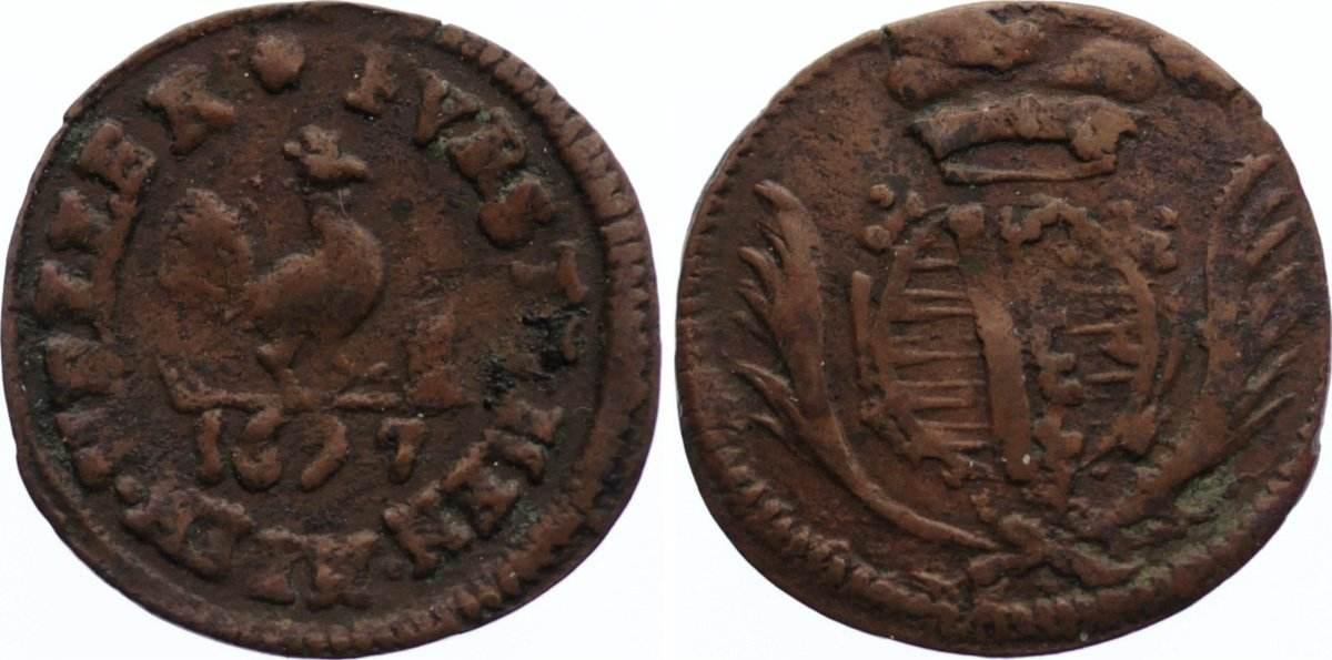 Cu Heller 1697 Sachsen-Meiningen Bernhard 1680-1706. sehr schön