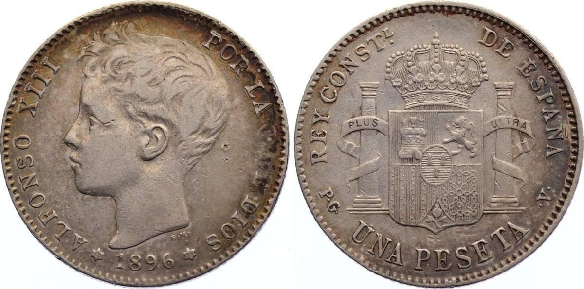 Peseta 1896 Spanien Alfons XIII. 1886-1931. sehr schön