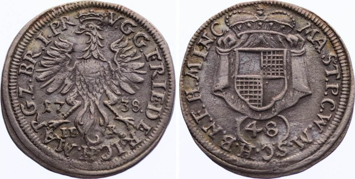 1/48 Taler 1738 Brandenburg-Bayreuth Friedrich 1735-1763. sehr schön