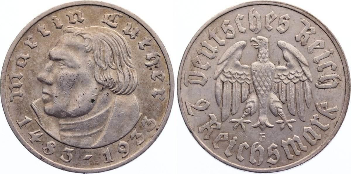 2 Reichsmark 1933 E Drittes Reich Gedenkmünzen 1933-1945. kl. Randfehler, sehr schön