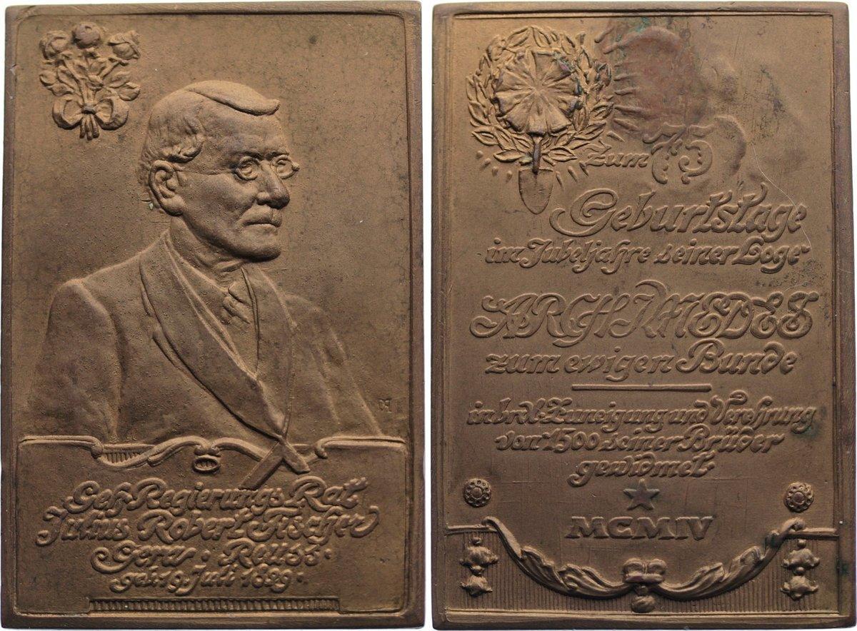Bronzeplakette 1904 Reuss-Gera, Stadt Revers Fleck, vorzüglich