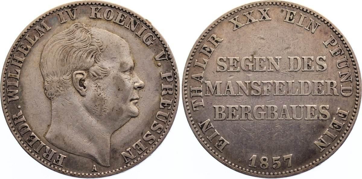 Ausbeutetaler 1857 A Brandenburg-Preußen Friedrich Wilhelm IV. 1840-1861. kl. Randfehler, sehr schön