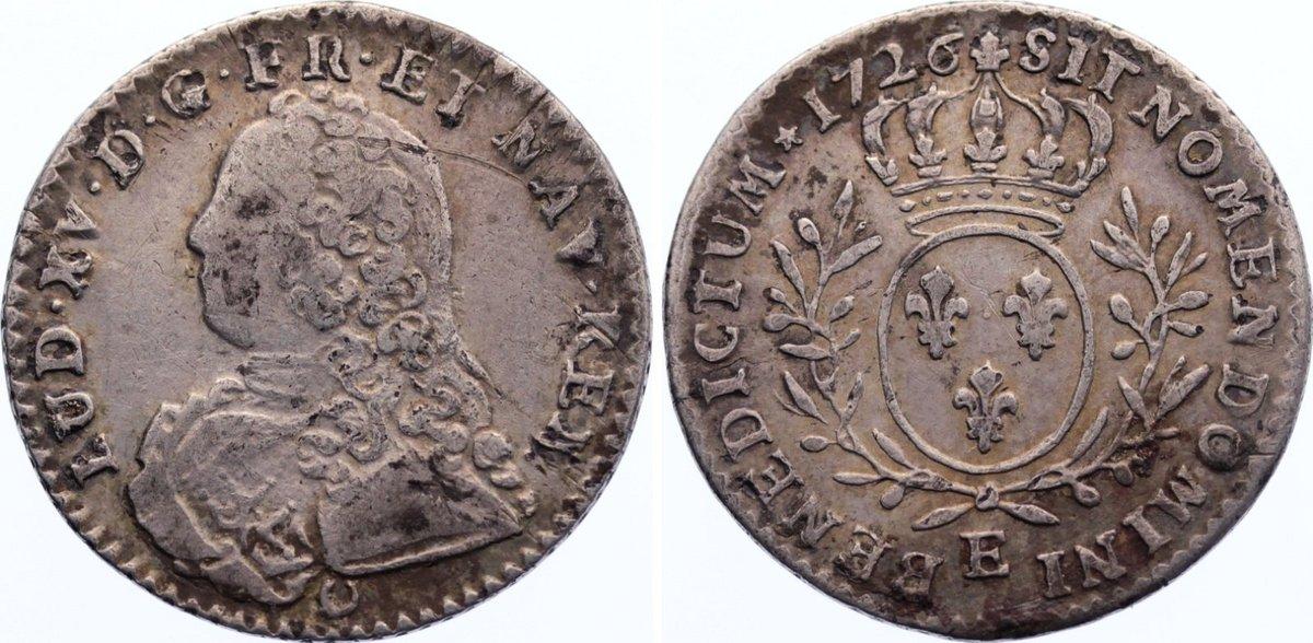 1/10 Écu aux branches d'olivier 1 1726 E Frankreich Ludwig XV. 1715-1774. kl. Kratzer, sehr schön