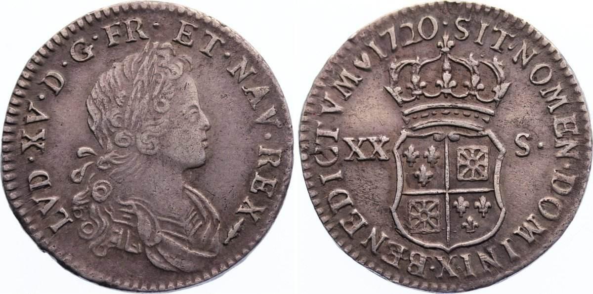 1/6 Écu - XX-S de France-Navarre 1 1720 X Frankreich Ludwig XV. 1715-1774. sehr schön
