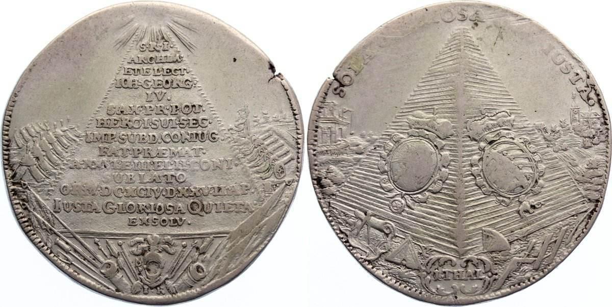 Taler 1694 IK Sachsen-Albertinische Linie Johann Georg IV. 1691-1694. Schrötlingsfehler am Rand, knapp sehr schön