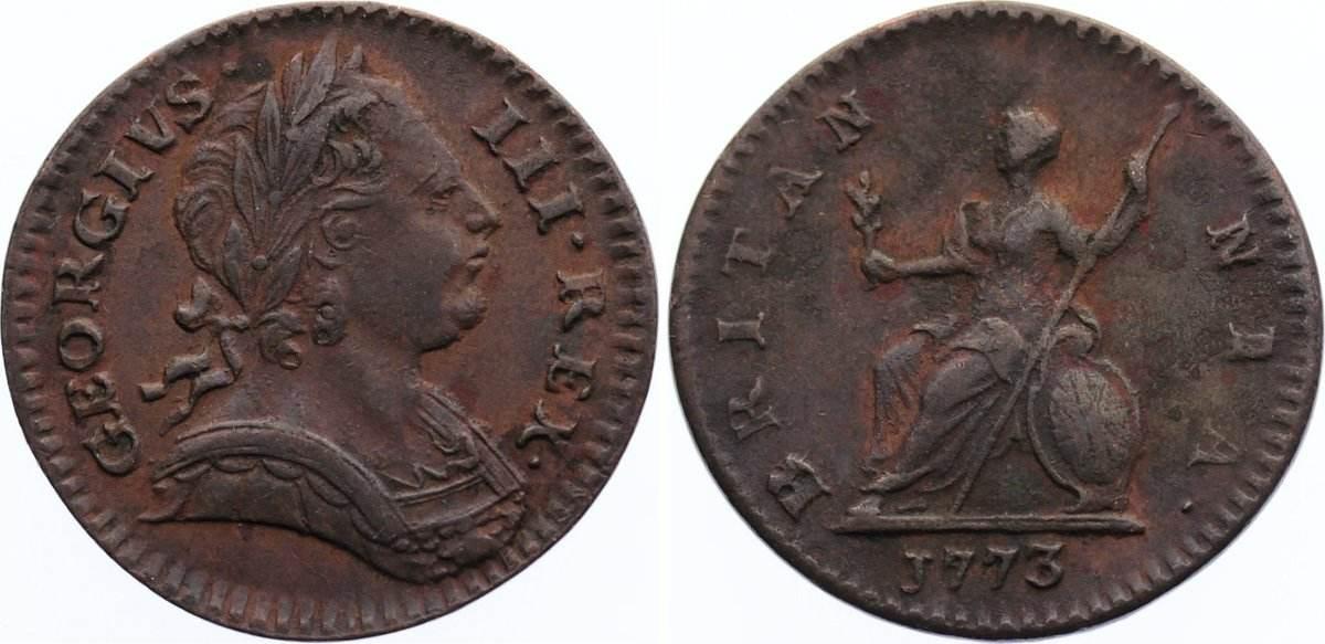 Cu Farthing 1773 Großbritannien George III. 1760-1820. sehr schön