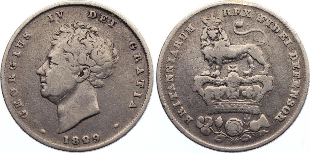 Shilling 1829 Großbritannien George IV. 1820-1830. kl. Randprüfstelle, fast sehr schön