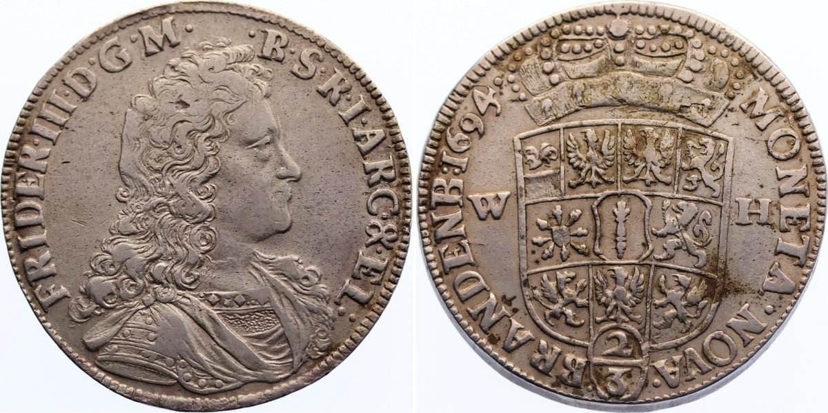 2/3 Taler 1694 WH Brandenburg-Preußen Friedrich III. 1688-1701. sehr schön
