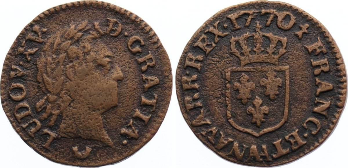 Liard á la vieille tête 17 1770 AA Frankreich Ludwig XV. 1715-1774. fast sehr schön