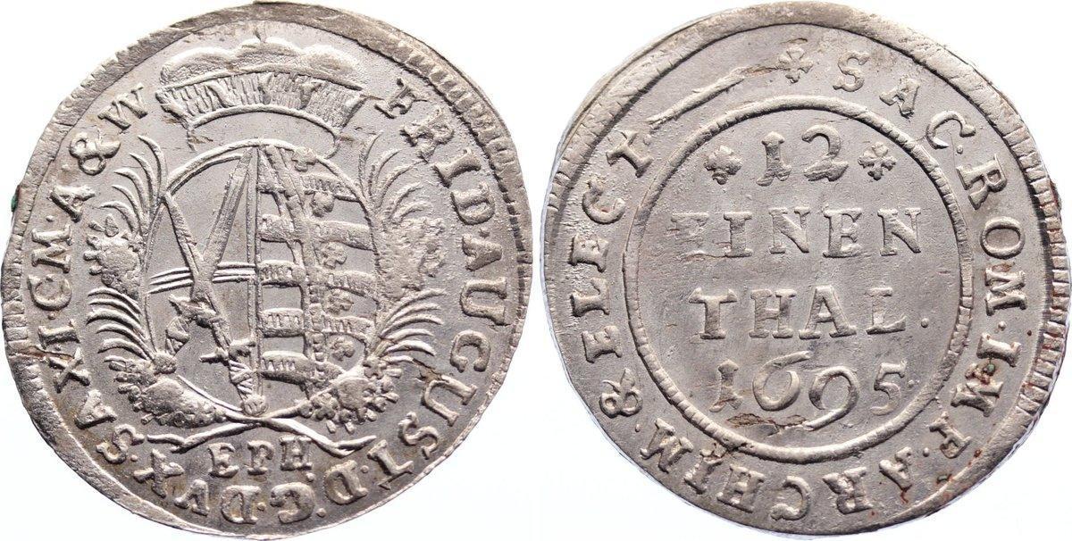 1/12 Taler 1695 Sachsen-Albertinische Linie Friedrich August I. 1694-1733. kl. Schrötlingsfehler, vorzüglich +