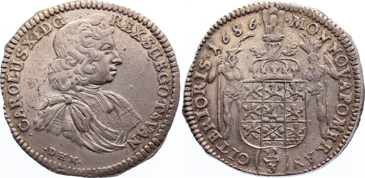 2/3 Taler 1686 Pommern-unter schwedischer Besetzung Karl XI 1660-1697. selten, fast vorzüglich